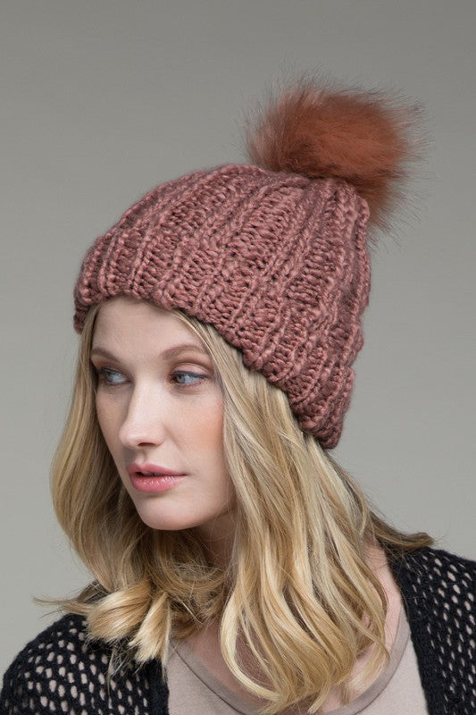 Callie Cable knit Beanie- Teracotta