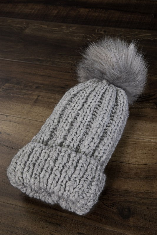 Callie Cable knit Beanie- Light Grey