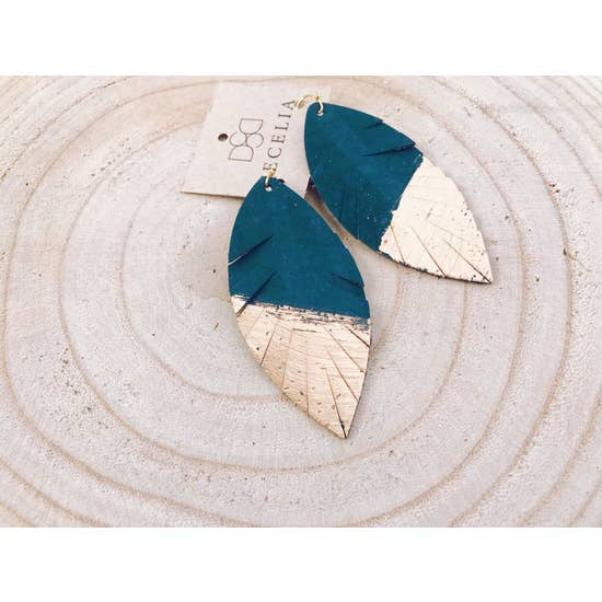 Painted Leather Turquoise Cork Earrings
