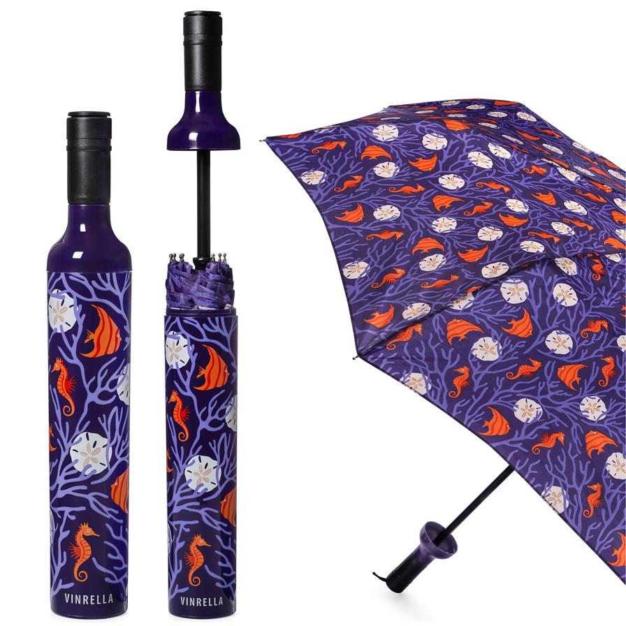 Wine Bottle Umbrella-Coral Reef - BOMSHELL BOUTIQUE