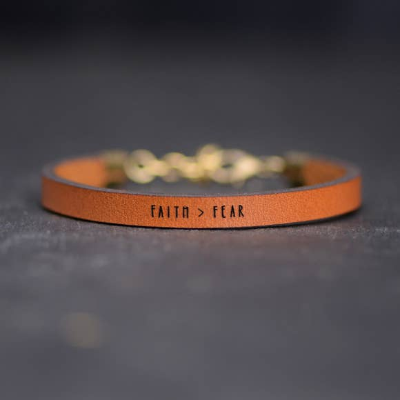 Faith > Fear Leather Bracelet