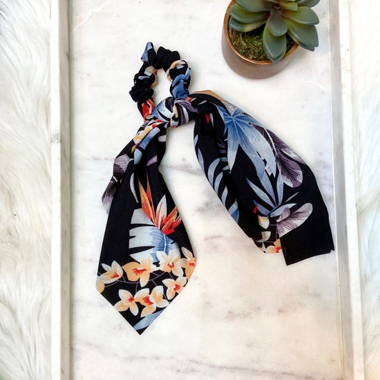 Hanna Hair Scarf- Black Floral