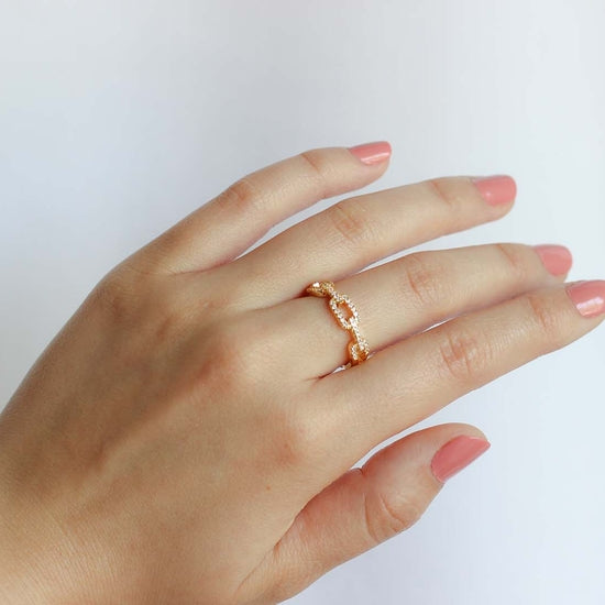 Gold Chain Link Adjustable Ring