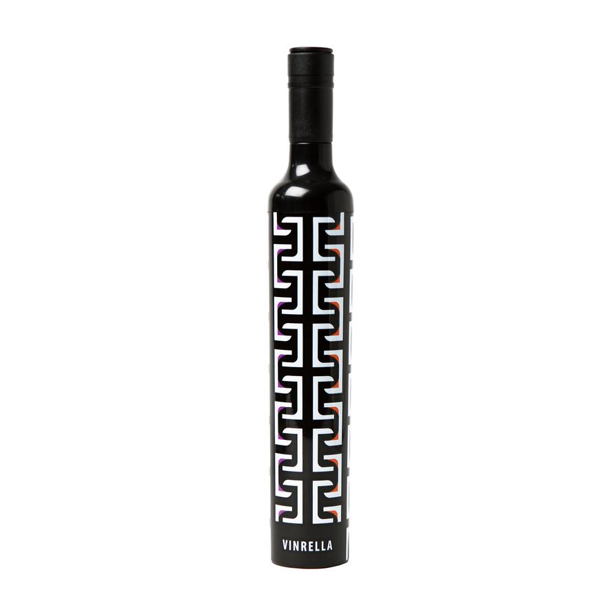 Wine Bottle Umbrella-Geometric Black/White - BOMSHELL BOUTIQUE