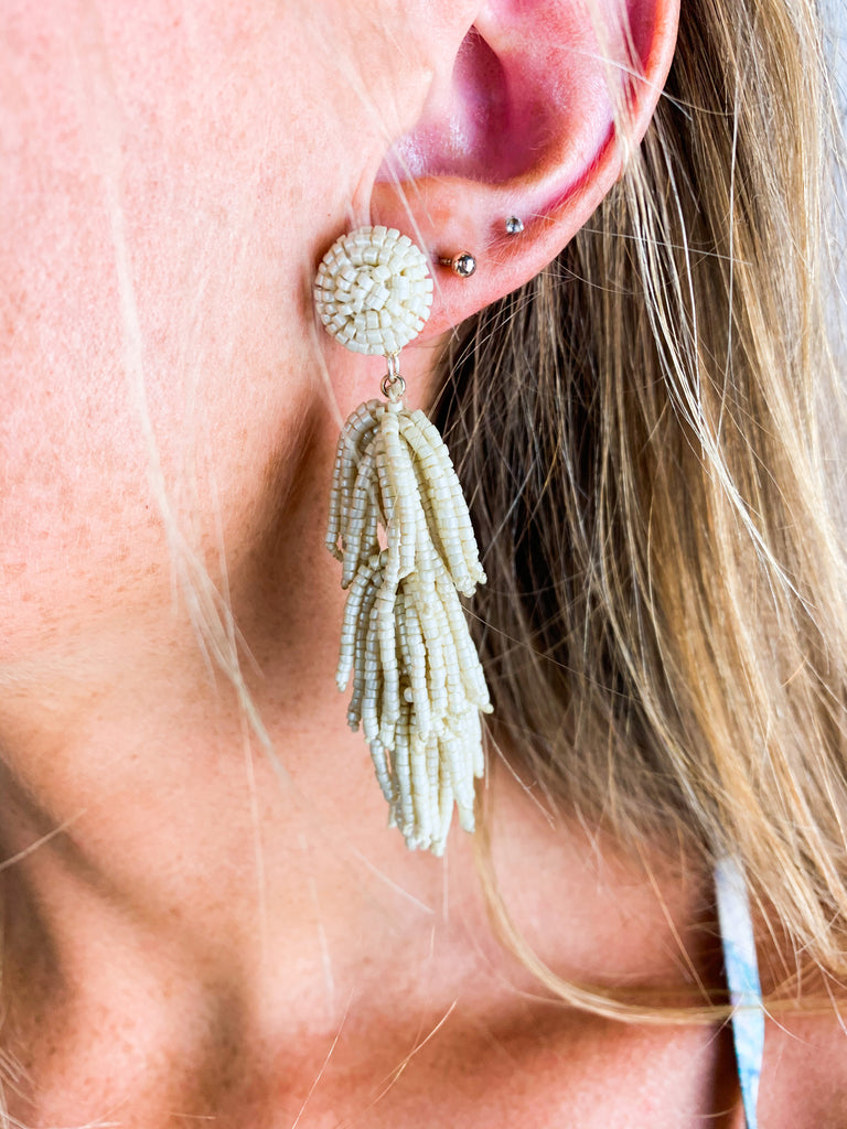 Licorice Earring - Ivory - BOMSHELL BOUTIQUE