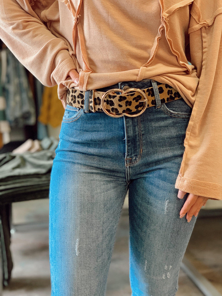 Double Circle Belt - Natural Leopard