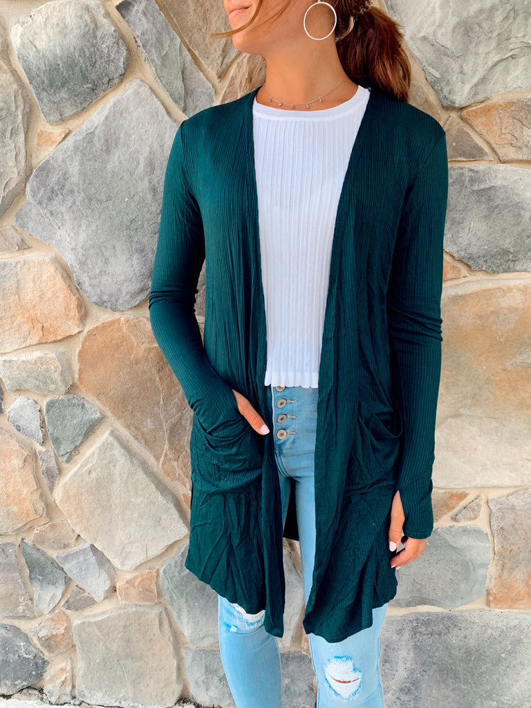 Sierra Ribbed Cardigan-Teal - BOMSHELL BOUTIQUE