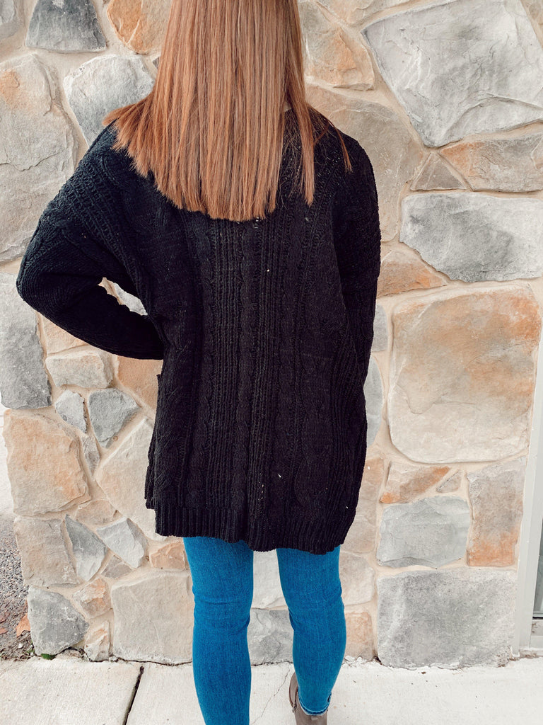 Cozy Me Cardigan - Black - BOMSHELL BOUTIQUE