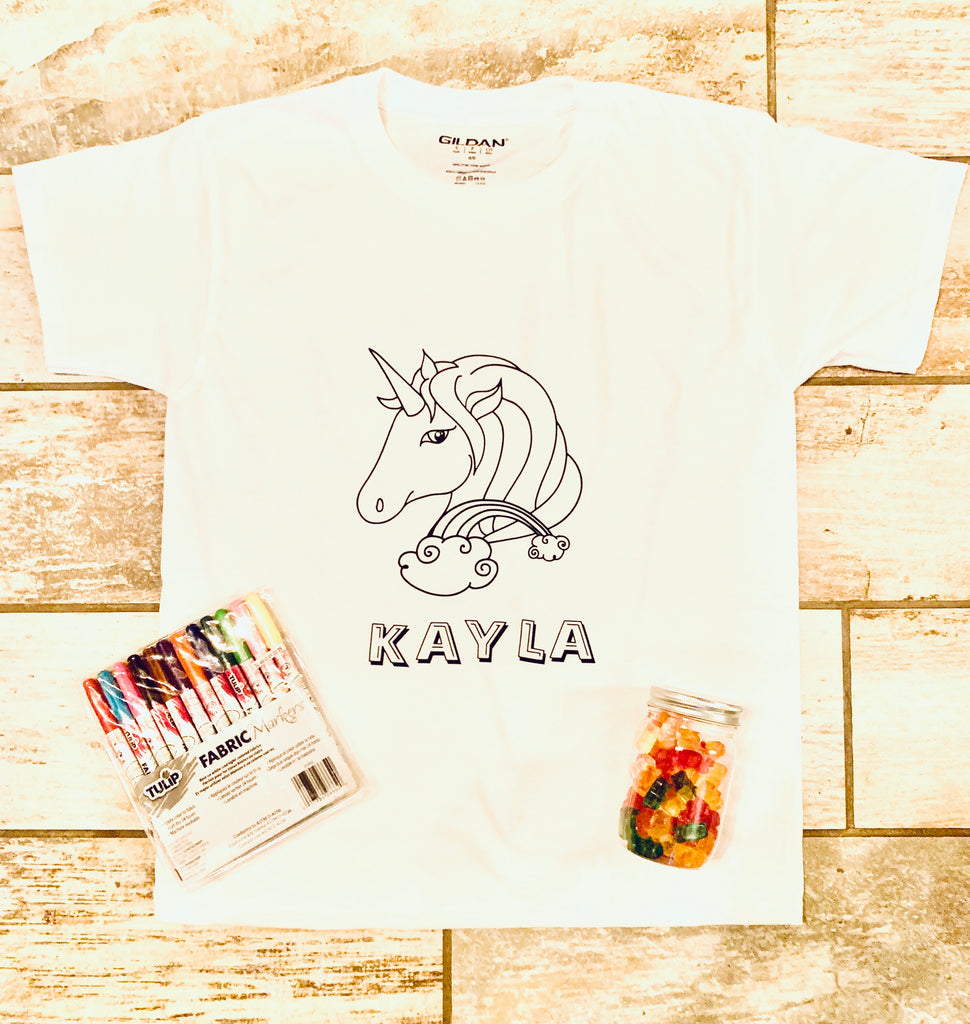UNICORN PERSONALIZED COLORING TSHIRT - BOMSHELL BOUTIQUE