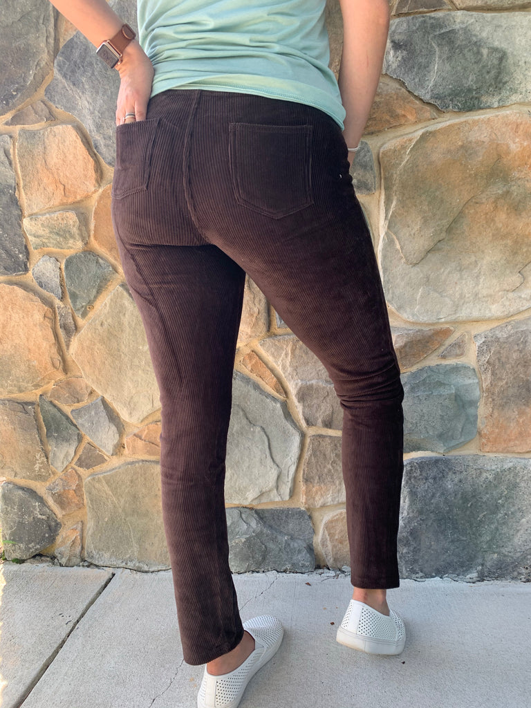 Cali Corduroy Leggings- Brown - BOMSHELL BOUTIQUE