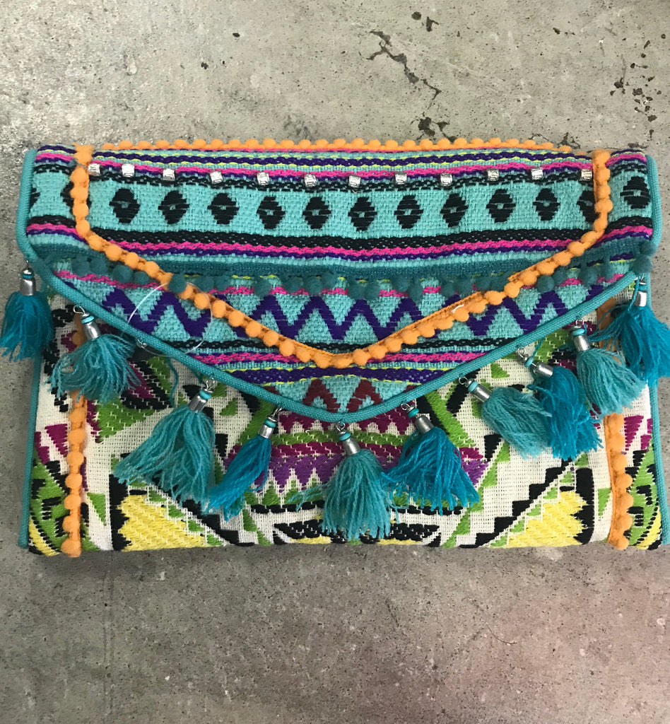 Ranee's Boho Clutch with Tassels in Teal