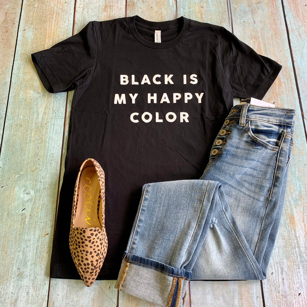 Black Is My Happy Color Tee - BOMSHELL BOUTIQUE