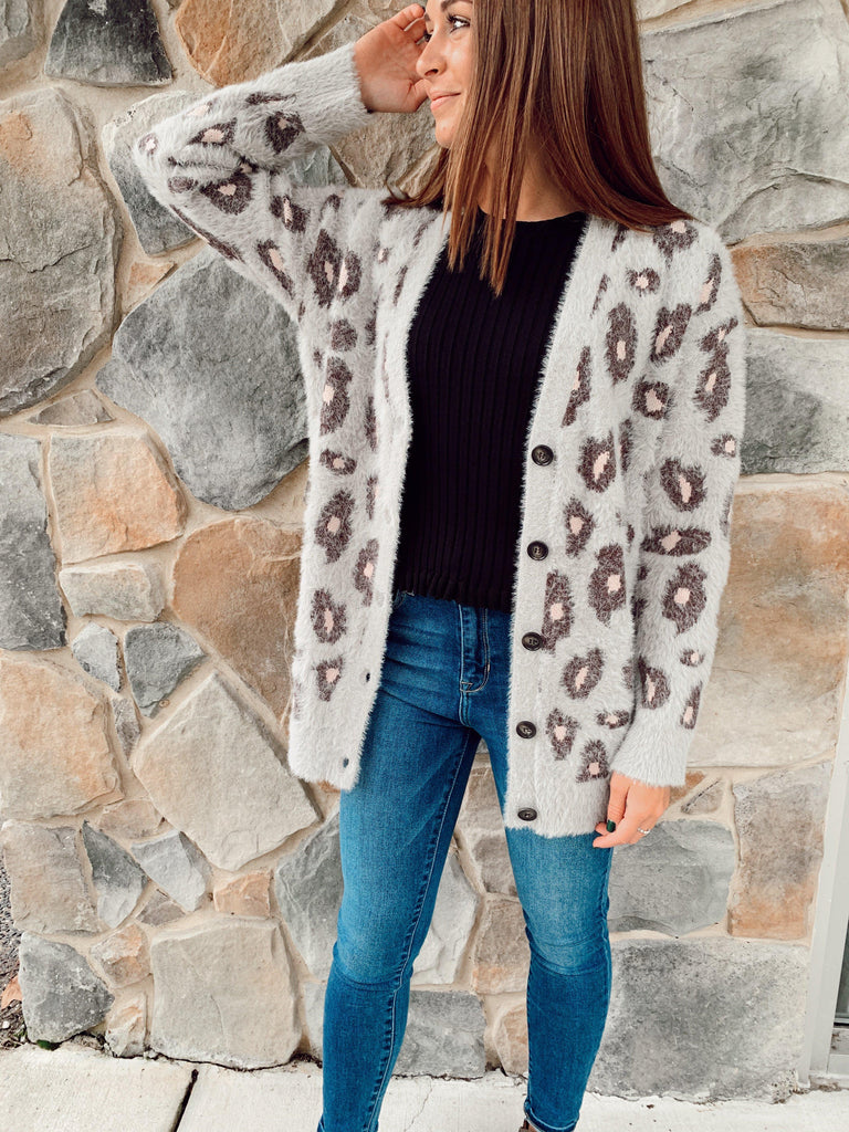 Leopard Cardigan-Grey