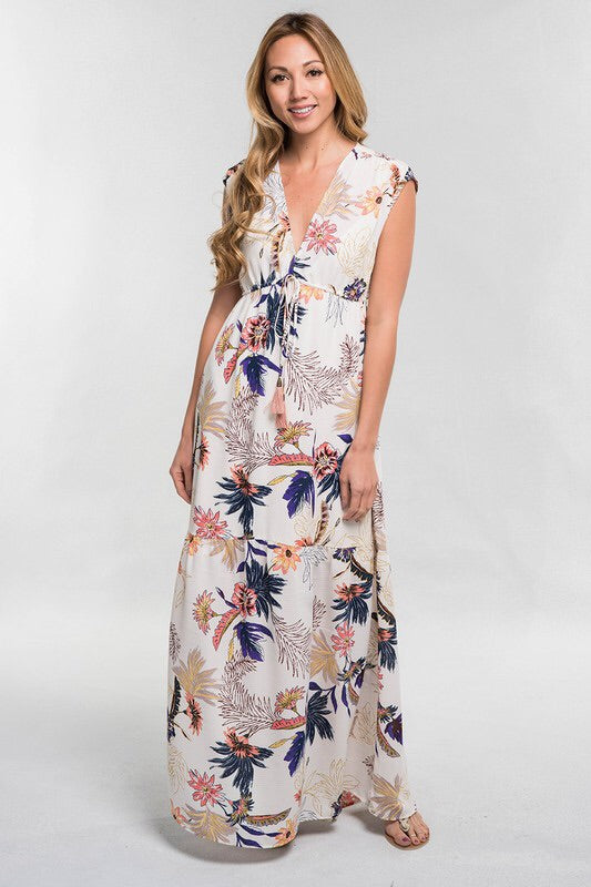 Deep V Tiered Maxi Dress - BOMSHELL BOUTIQUE