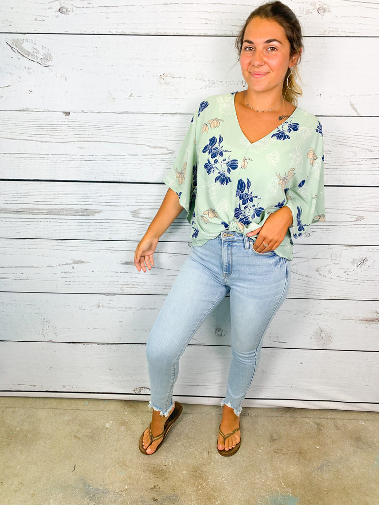 Posey Floral Top- Sage