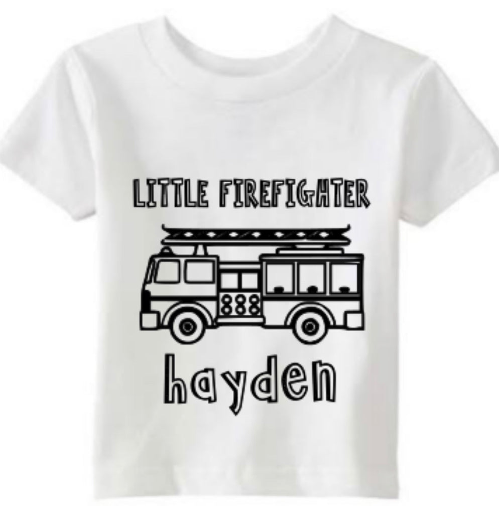 FIRETRUCK PERSONALIZED COLORING TSHIRT - BOMSHELL BOUTIQUE