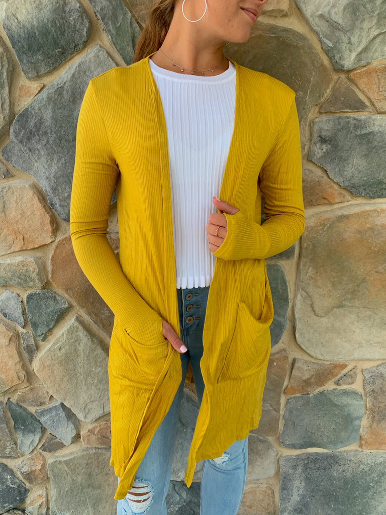 Sierra Ribbed Cardigan-Mustard - BOMSHELL BOUTIQUE