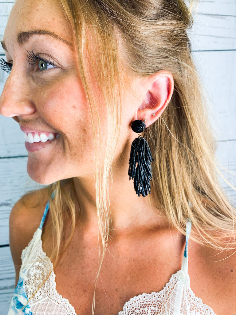 Licorice Earrings - Black - BOMSHELL BOUTIQUE