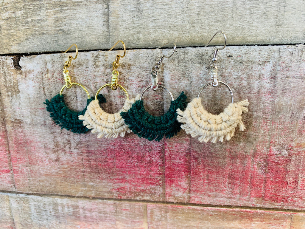 Mini Macrame Fan Earrings