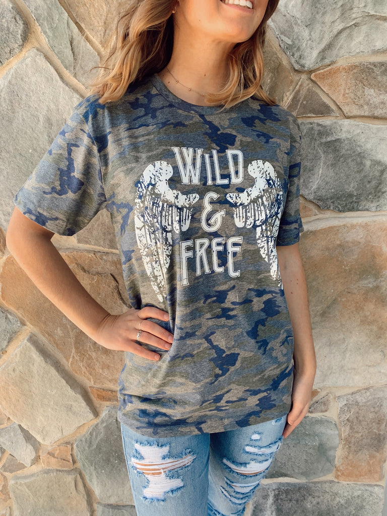 Wild & Free Tee Camo - BOMSHELL BOUTIQUE
