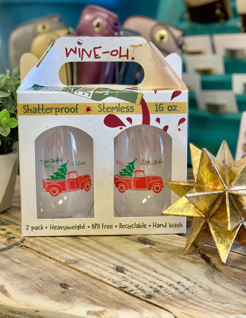 WINE OH 2PK- Christmas Trucks