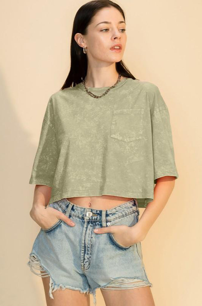 Tiffany Cropped Tee- Acid Smocked Olive