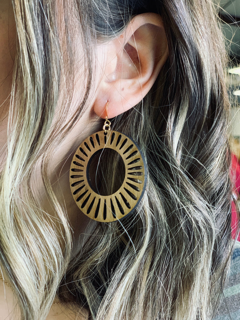 Sunburst Hoop Wooden Earrings