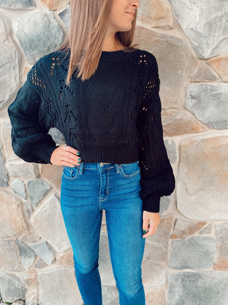 Sweater Weather Knit Crop Top- Black