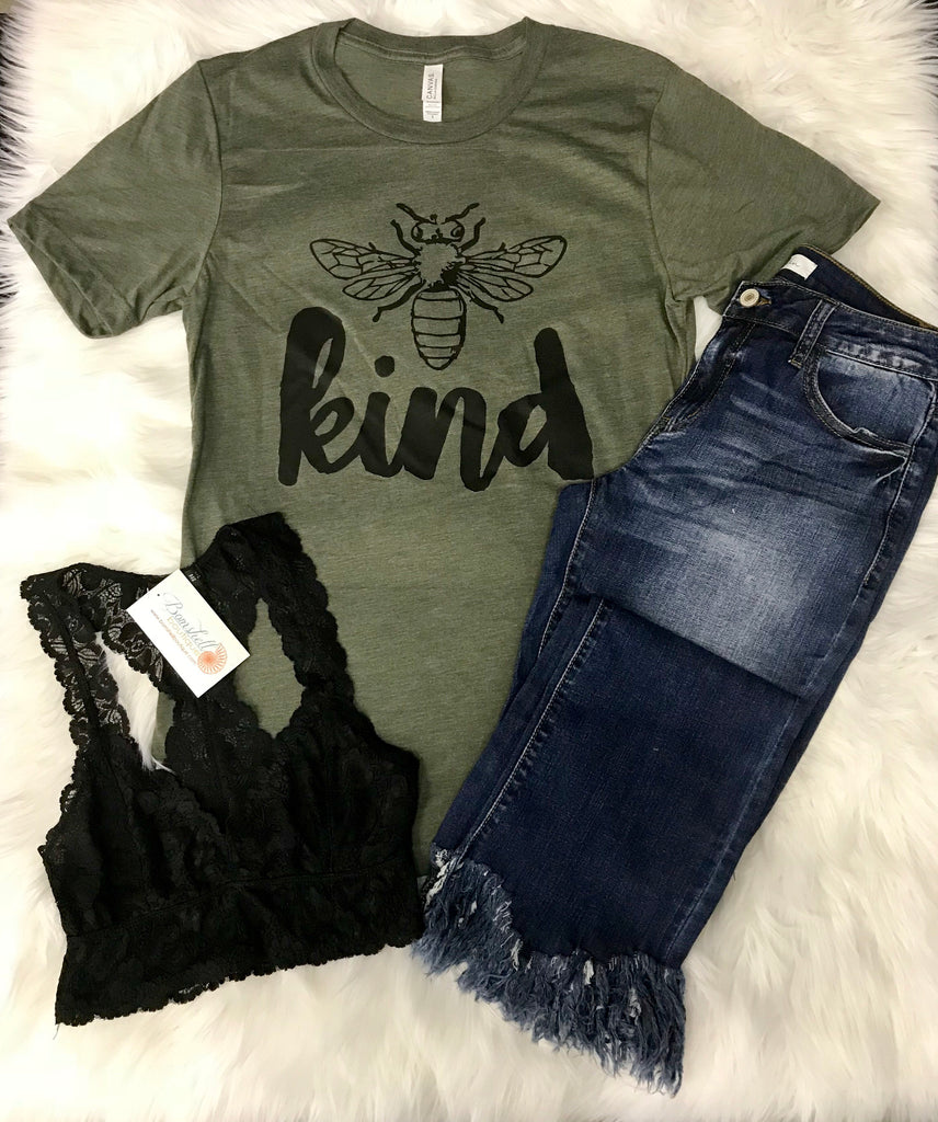 Bee Kind Tee in Olive - BOMSHELL BOUTIQUE