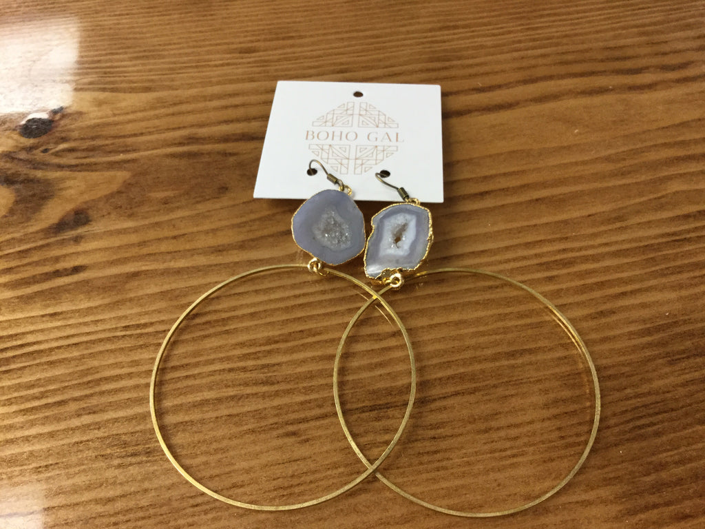 Boho druzy hoop earrings - BOMSHELL BOUTIQUE