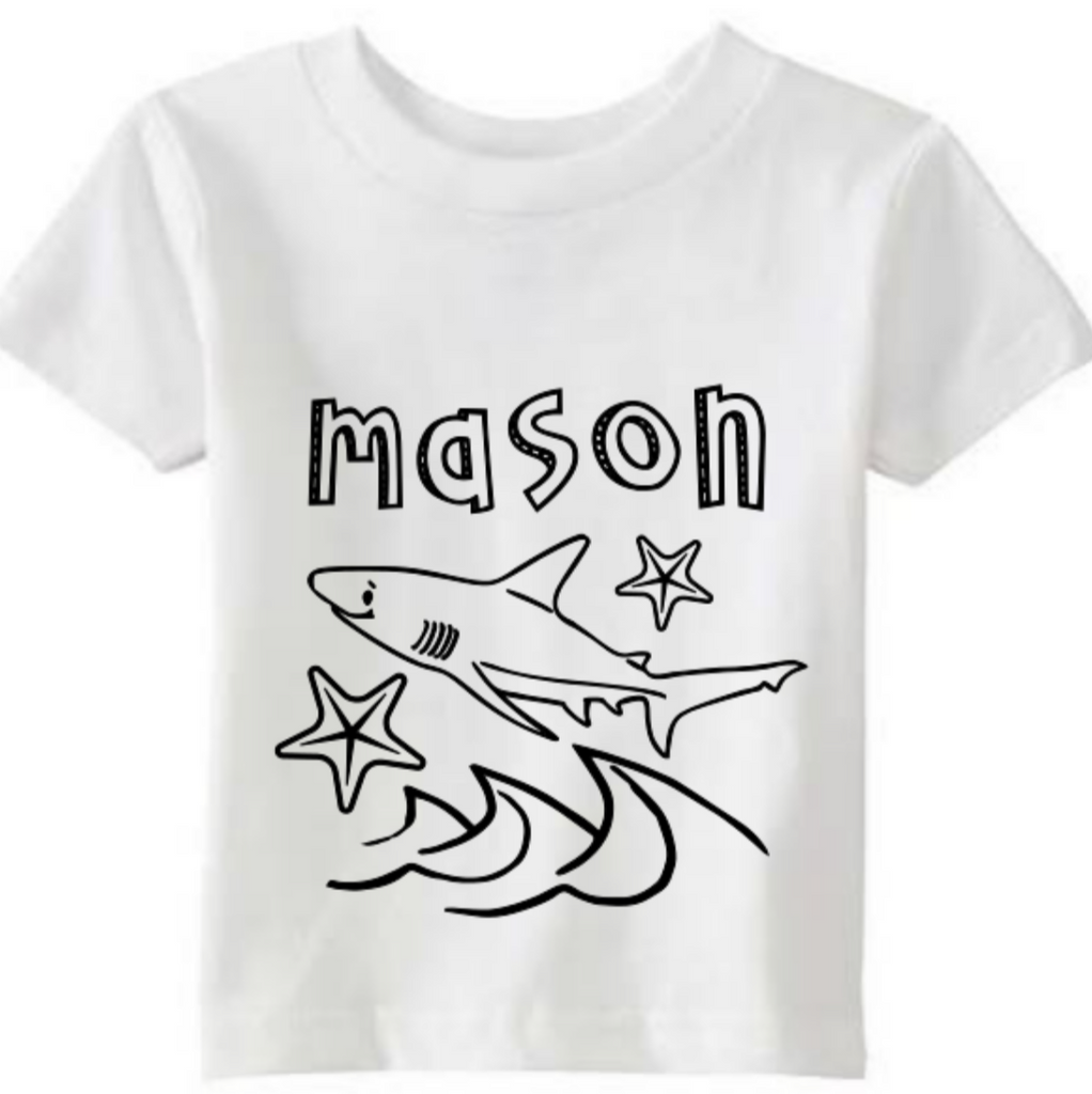 SHARK PERSONALIZED COLORING TSHIRT