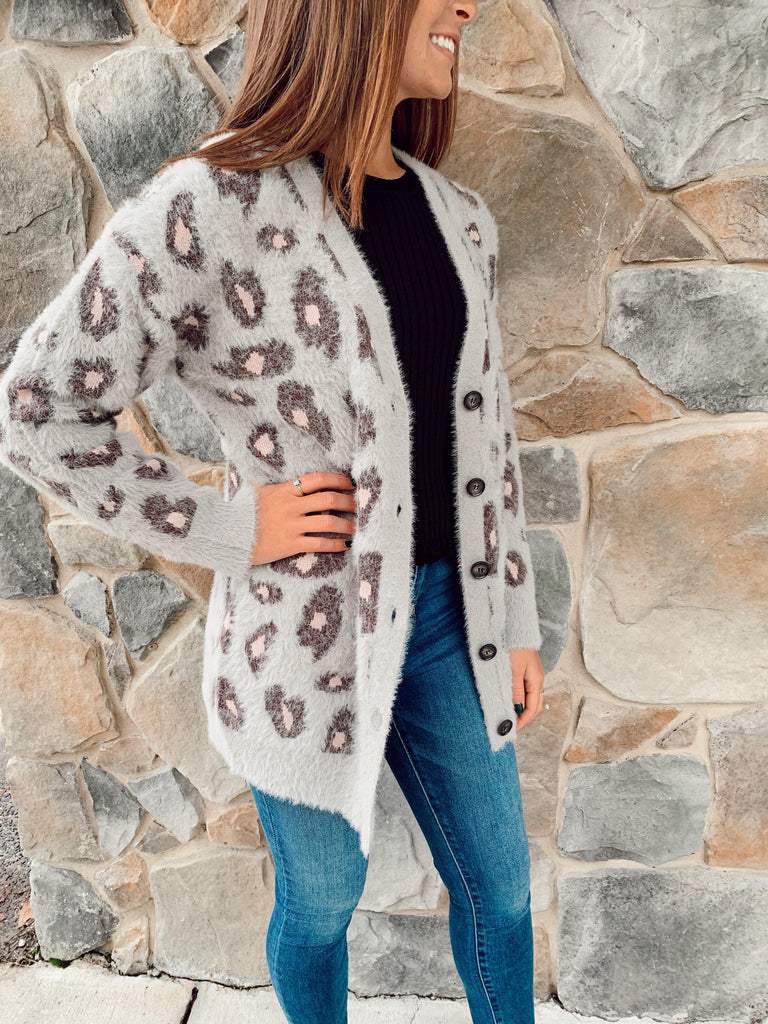 Leopard Cardigan-Grey - BOMSHELL BOUTIQUE
