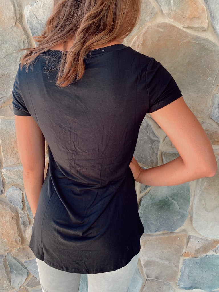 Kathryn V-Neck Overlay Pocket Tee- Color Options Avaliable - BOMSHELL BOUTIQUE