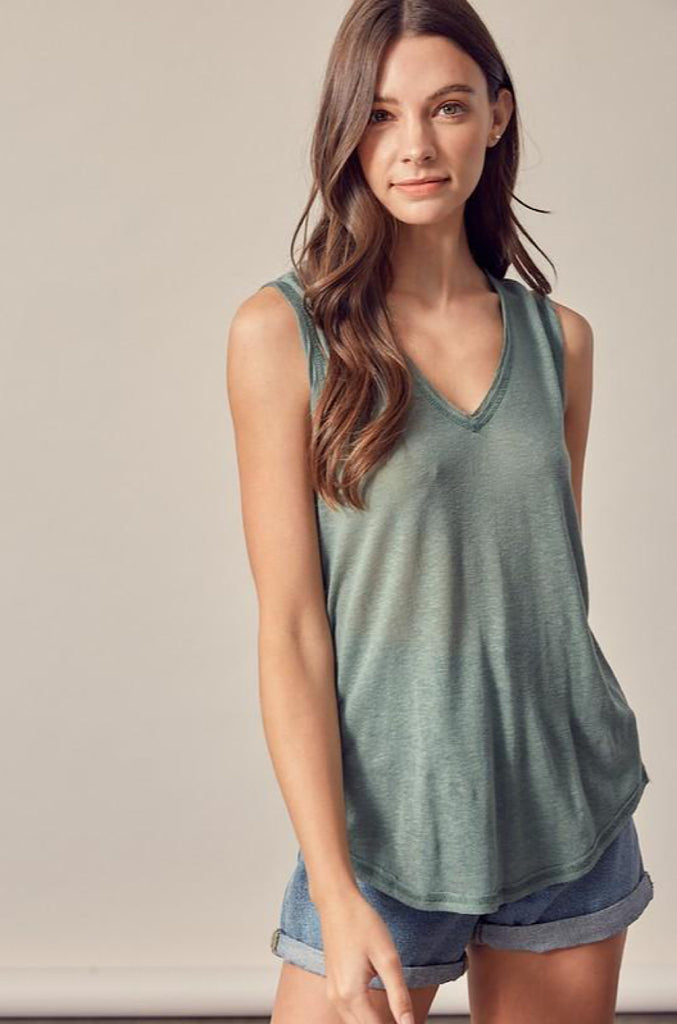 Phoebe Tank- Washed Green