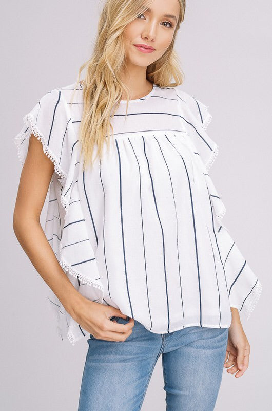 Navy Stripped Baby Doll Top