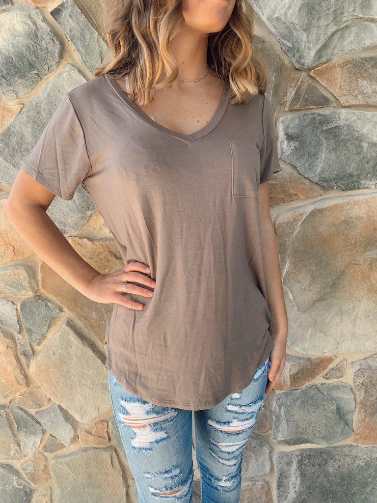 Jenna Pocket Tee - Multi Colors - BOMSHELL BOUTIQUE