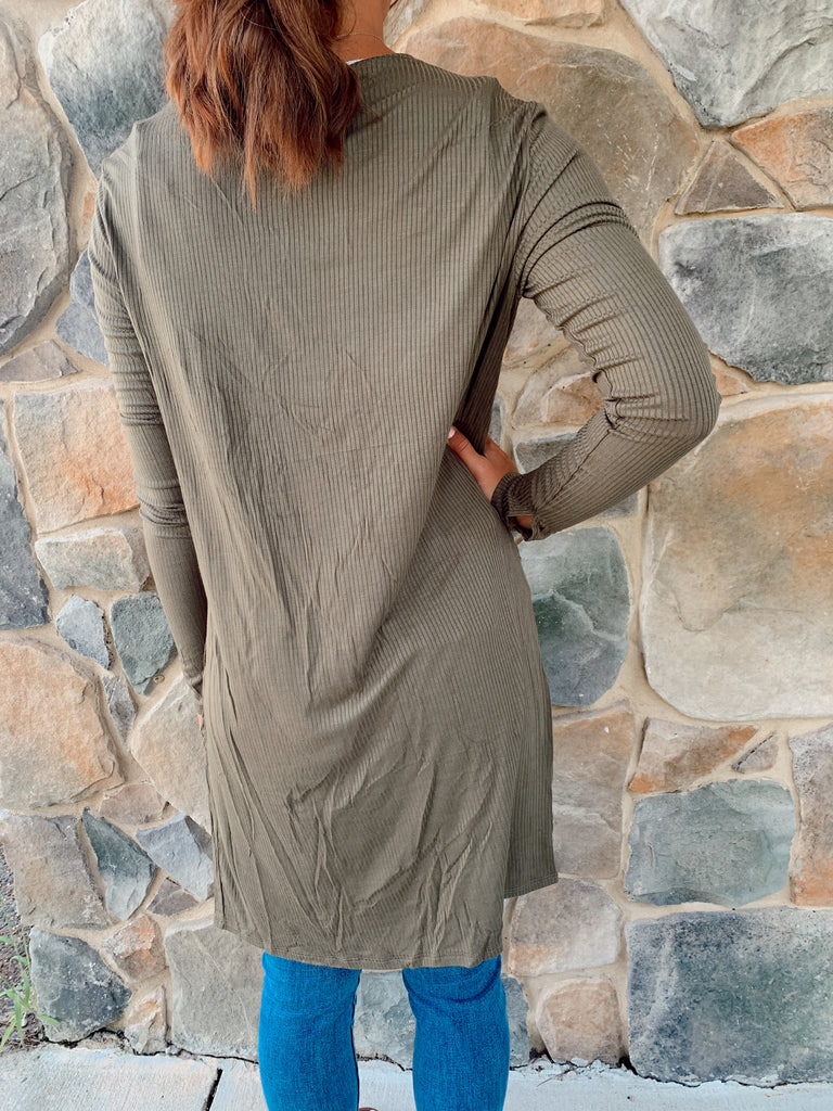 Sierra Ribbed Cardigan-Olive - BOMSHELL BOUTIQUE