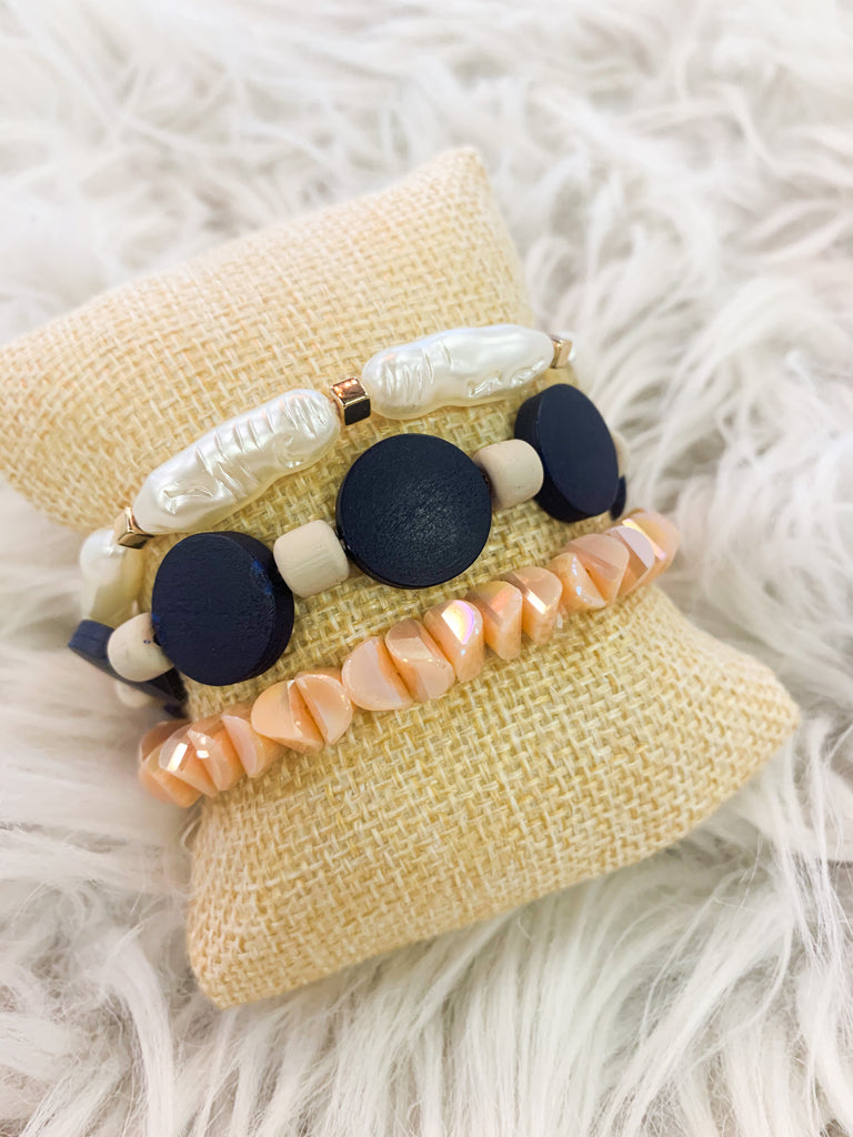Blue Disc Bracelets - BOMSHELL BOUTIQUE