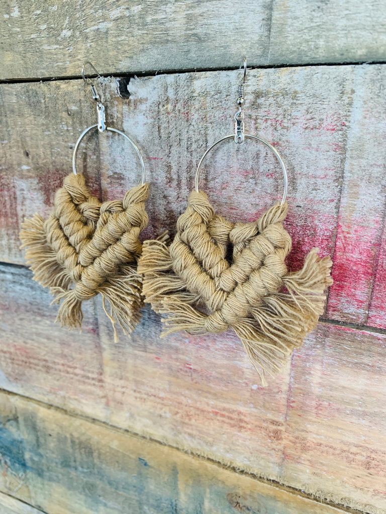 Macrame Tassel Earrings - BOMSHELL BOUTIQUE