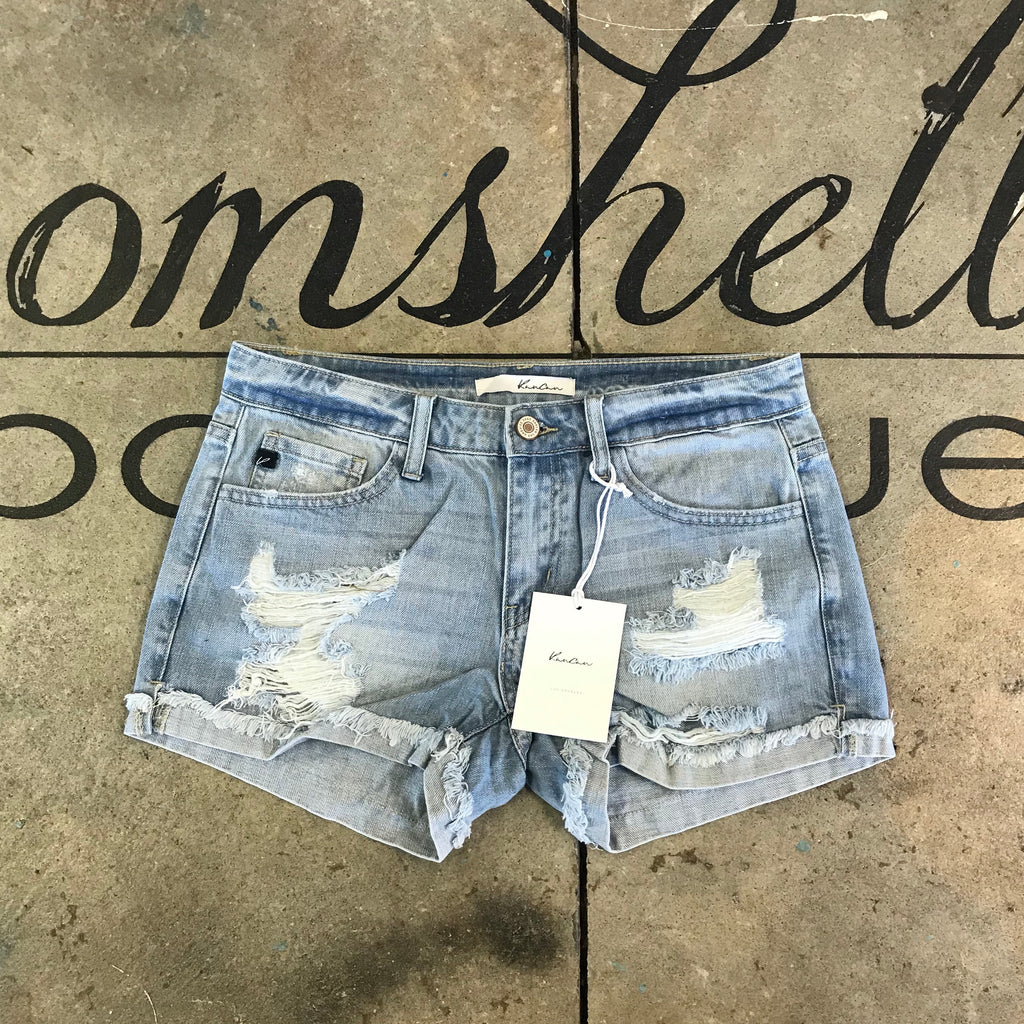 Dakota Denim Shorts by KanCan - BOMSHELL BOUTIQUE