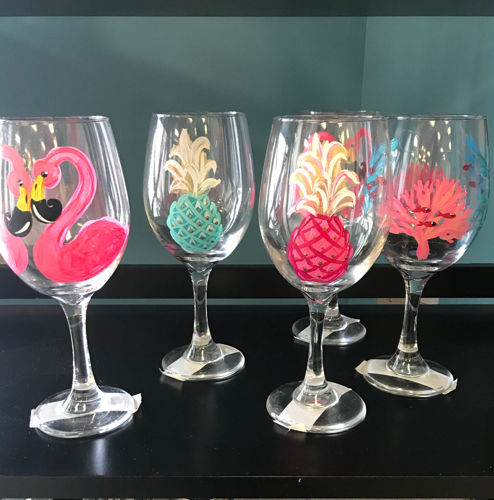 Hand Painted Stemmed Wine Glasses