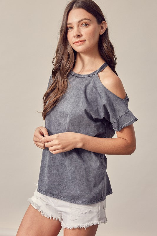 Kenzie Cold Shoulder Top- Grey