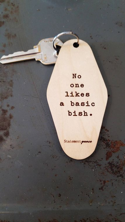 Basic Bish Wood Keychain
