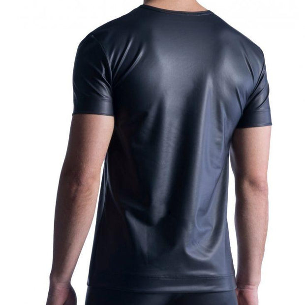 Manstore, V-NECK TEE REGULAR | LATEX-OPTIK | SCHWARZ - Bellizima