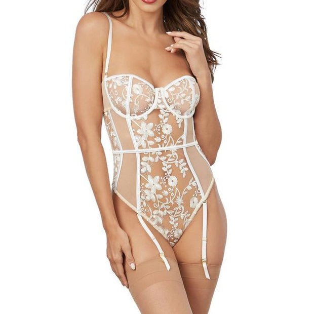 Dreamgirl, TRANSPARENTER STRAPSBODY MIT STICKEREI | NUDE/WEISS - Bellizima