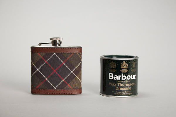Barbour classic tartan flask thornproof wax