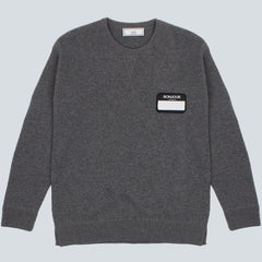 AMI-BONJOUR PATCH OVERSIZED CREWNECK WOOL-HEATHER GREY