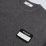 BONJOUR PATCH OVERSIZED CREWNECK WOOL - HEATHER GREY
