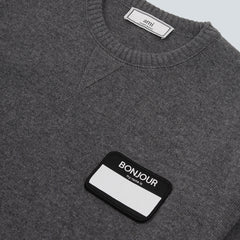 AMI - BONJOUR PATCH OVERSIZED CREWNECK WOOL - HEATHER GREY