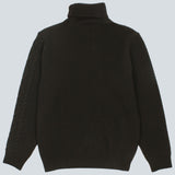 STILL BY HAND - TURTLENECK CABLE KNIT - OLIVE